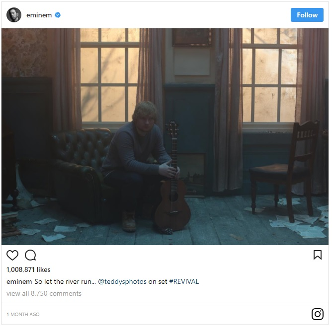 Eminem Ed Sheeran River Music Video Revival Insta